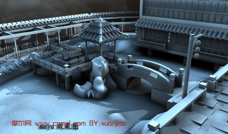 场景模型 古代场景  关键词:小桥流水园林建筑亭子场景maya 作品描述