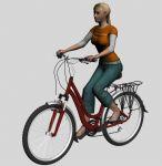 骑自行车的女孩动画3D模型