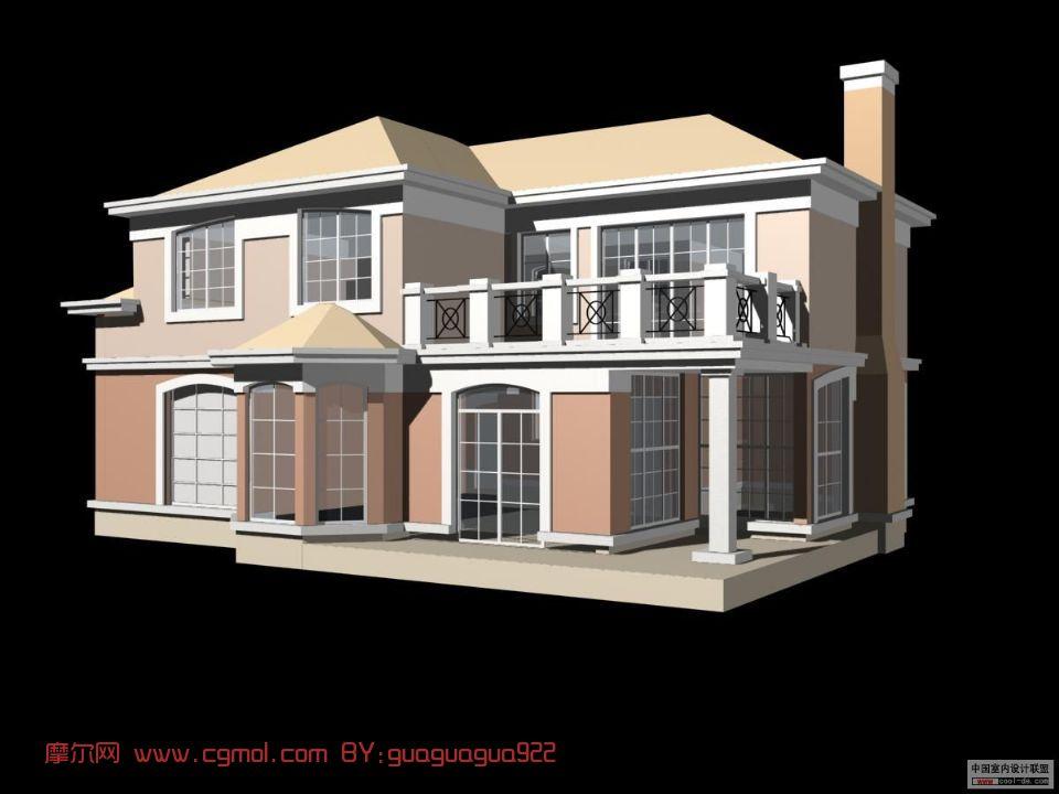 别墅带正面的别墅max阳台,国外建筑,建筑模型肇庆模型二手图片