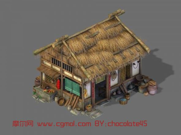 maya场景模型美术素材q版卡通古代房子建筑植物模型三维动画场景