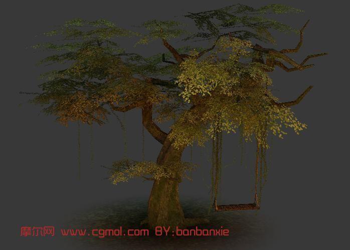 树枝秋千,树林,卡通场景max模型