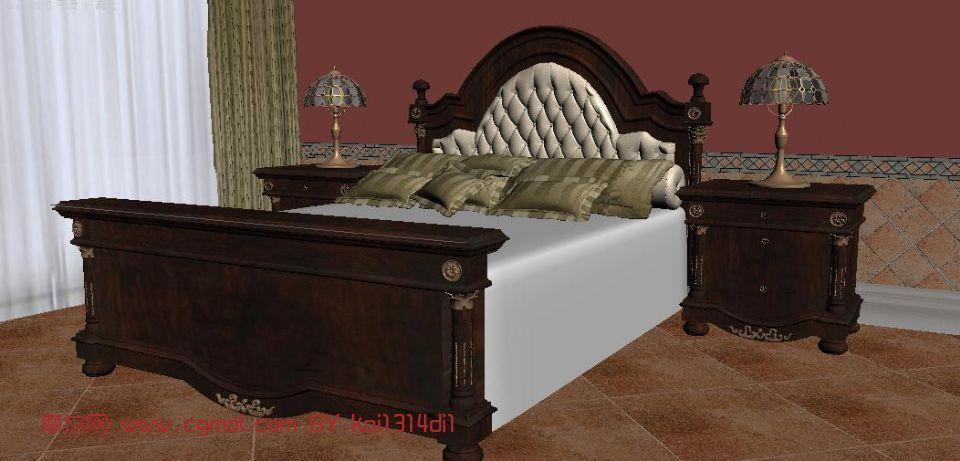欧式双人床max模型