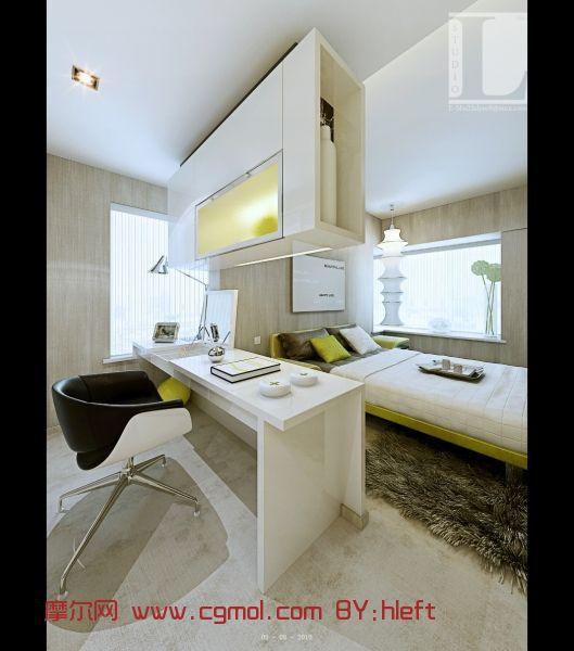 单身公寓,卧室,室内模型max模型