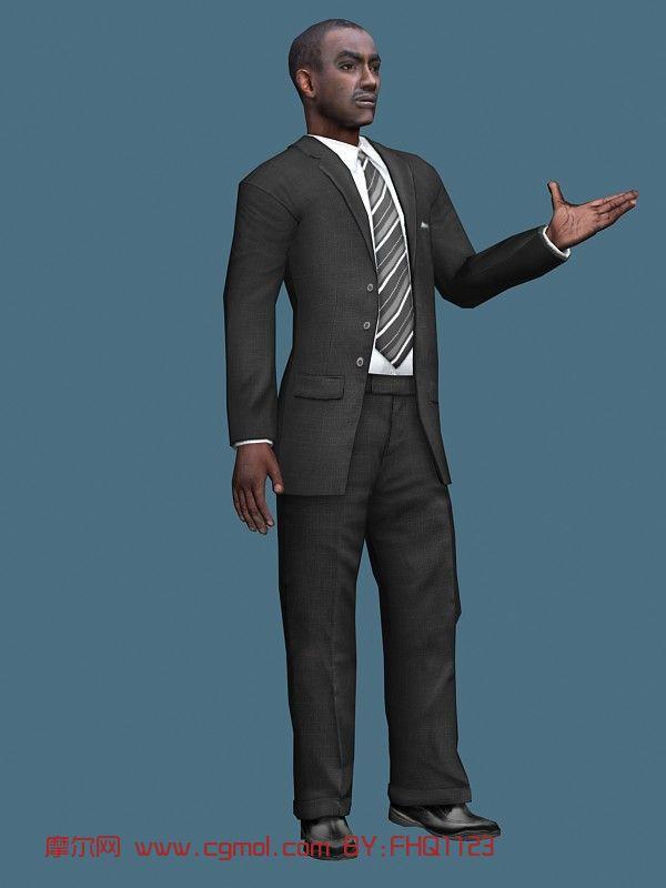 商务黑人,男人,中年人,商人max模型