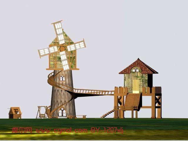 风车,房子,建筑,室外场景max模型