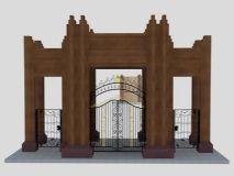 紫御华府后门,大门,建筑max模型