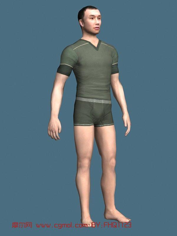 现实人物,男人,内衣模特,青年人max模型