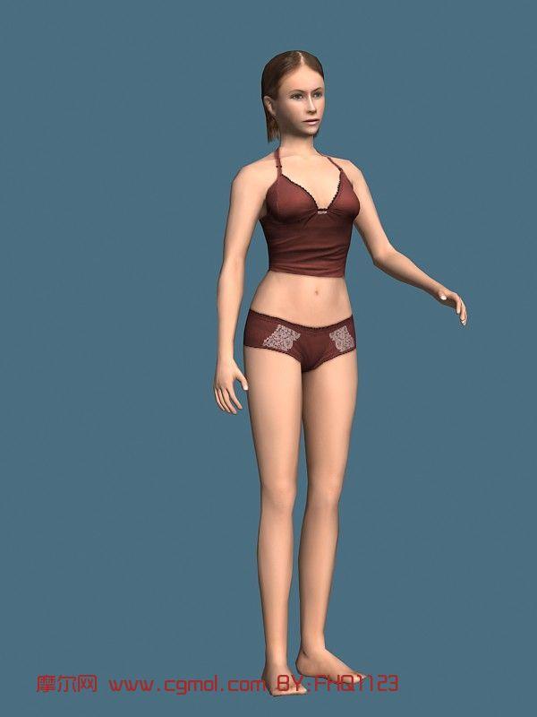 现实人物,内衣模特,女性,女人,青年人max模型