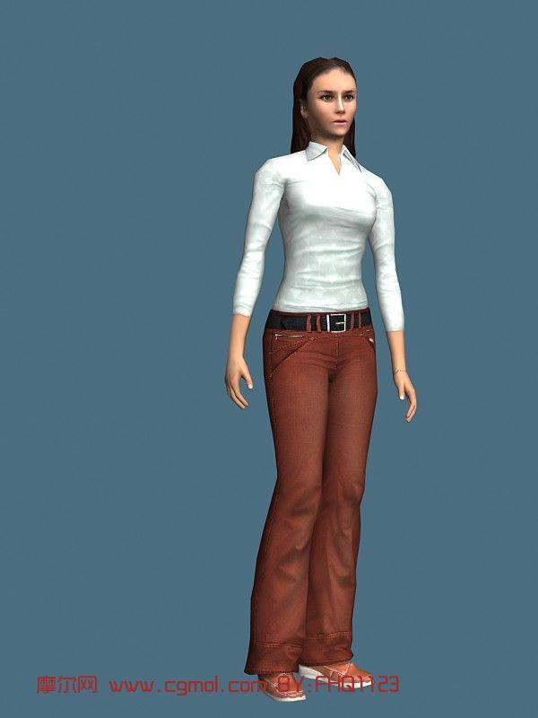 现实人物,休闲女性,女人,青年人max模型