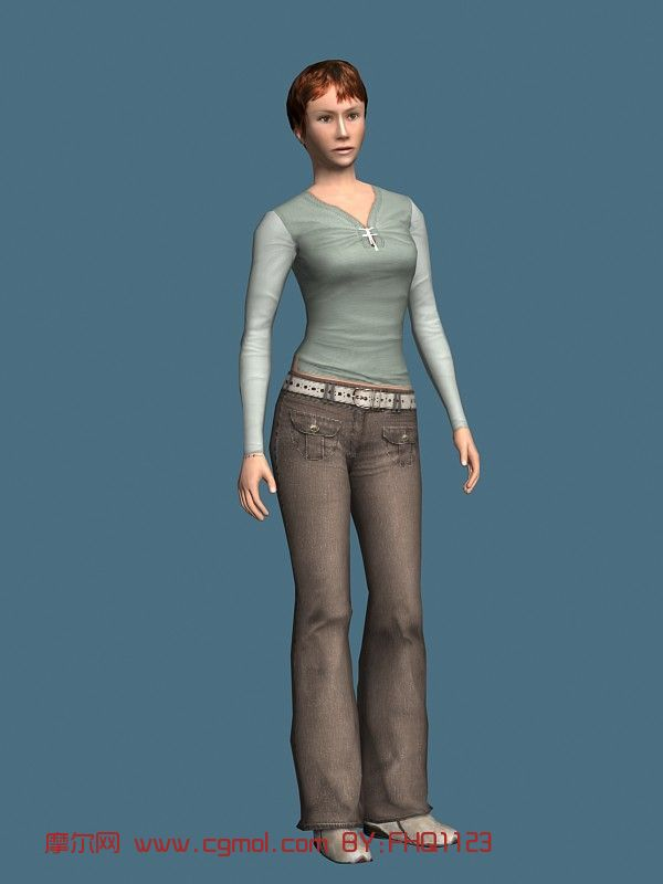 现实人物,长袖服装女性,女人,青年人max模型