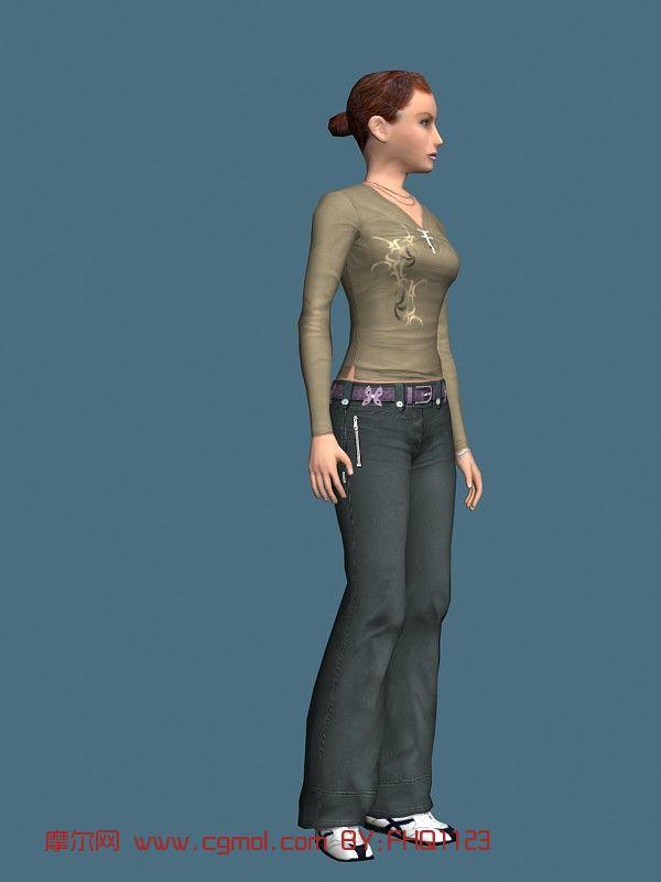 现实人物,长袖女性,女人,青年人max模型
