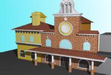 大钟教堂式建筑3D模型