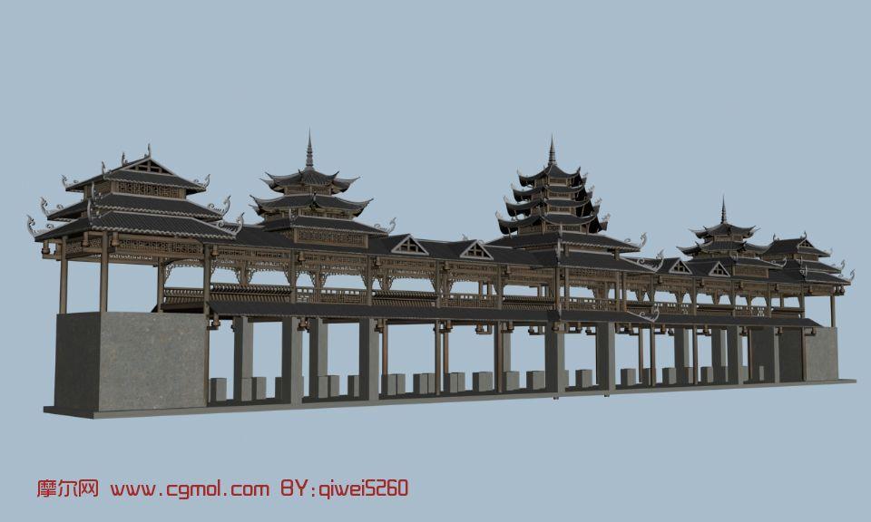风雨桥,古建筑,室外场景max模型