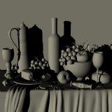 酒瓶,酒杯,水果,面包,写实静物,水果,面包maya模型
