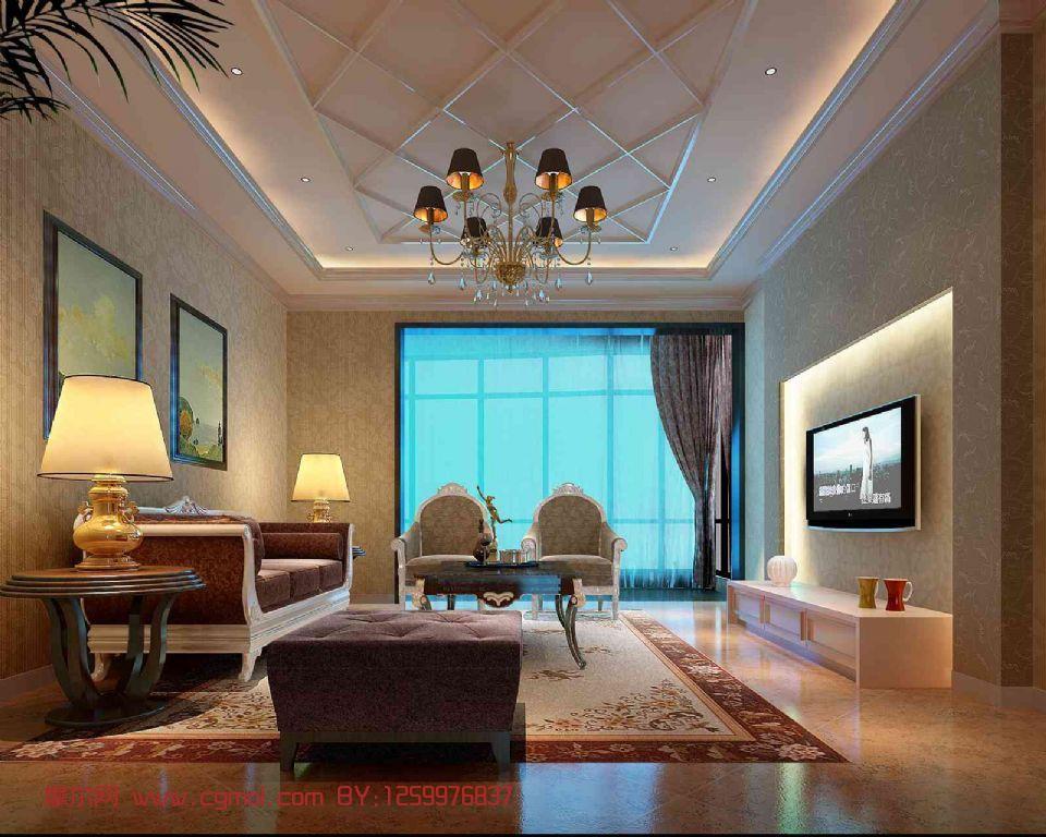 会客厅整体效果,室内场景,样板间max模型