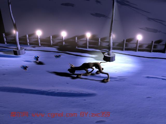 有动画的狗,动物maya模型