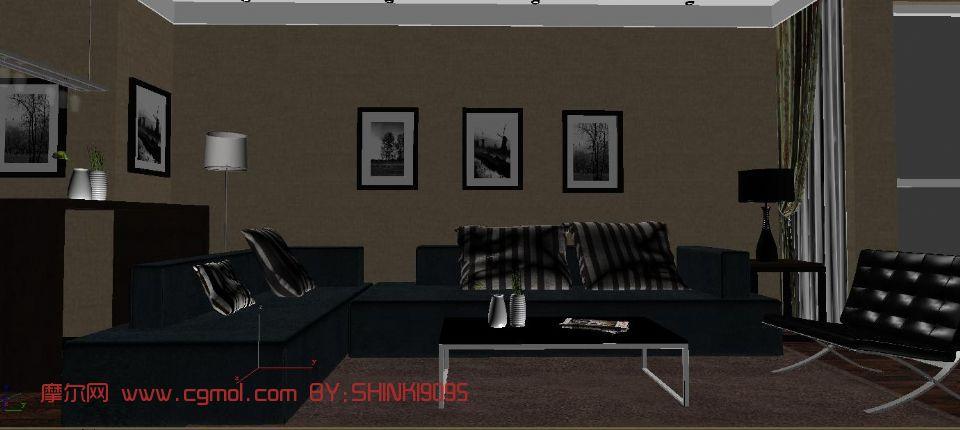 现代客厅,室内场景max模型
