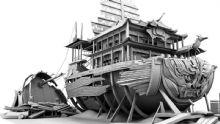 古典场景,建筑,皇家巡舰,船maya模型