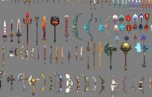 古代,武器,弓箭,剑,扇子max模型