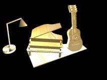 吉他,乐器maya模型