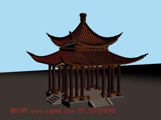 中式亭子,建筑,室外场景max模型
