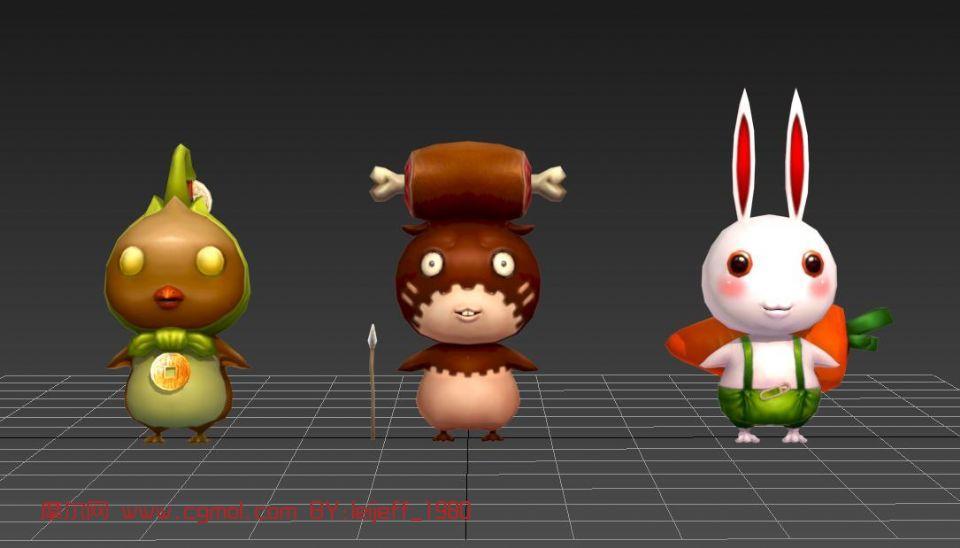 卡通动物,兔子max模型