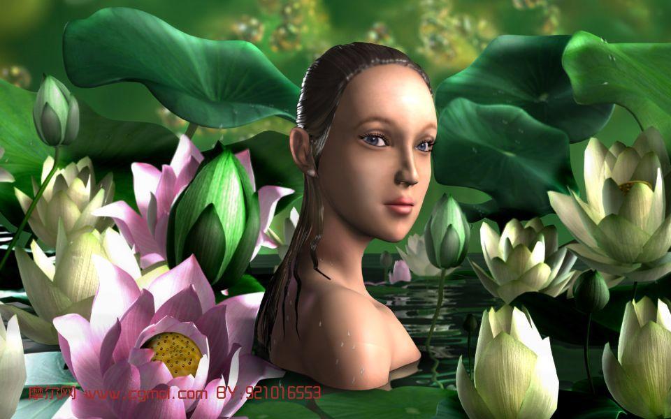 河女,卡通场景,女性角色maya模型.