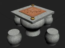 围棋桌,石桌,桌椅max模型