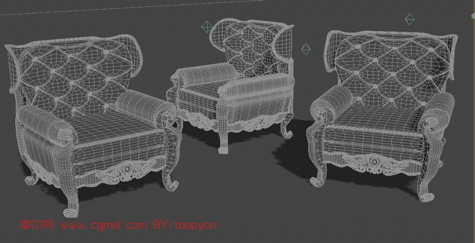 欧式沙发,室内家具max模型(线框图)