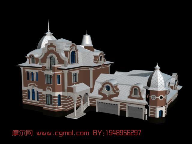 欧式小别墅,建筑,房子,住宅,室外场景max模型