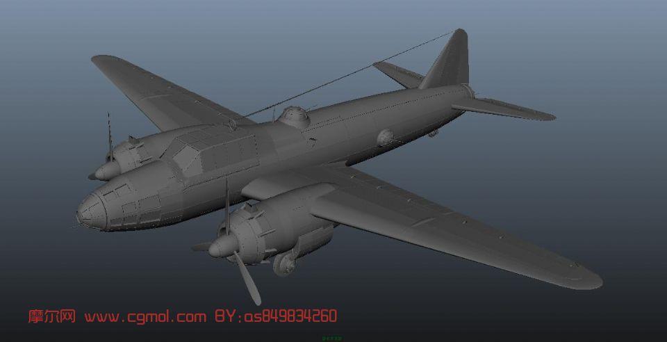 三菱飞机一式陆攻,轰炸机,飞机maya模型 飞行器 军事模型高清图片