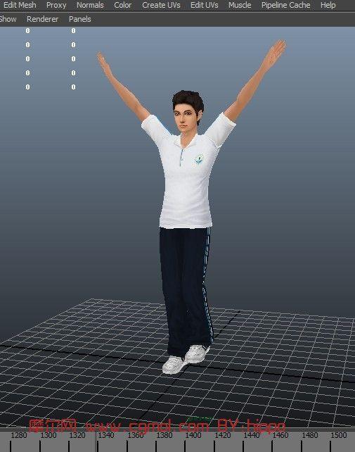 关键词:男孩体操男模卡通人物maya运动员 作品描述:专门为中学生做的