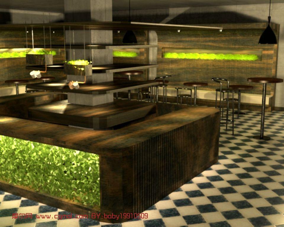 室内/关键词:吧台咖啡店室内场景max