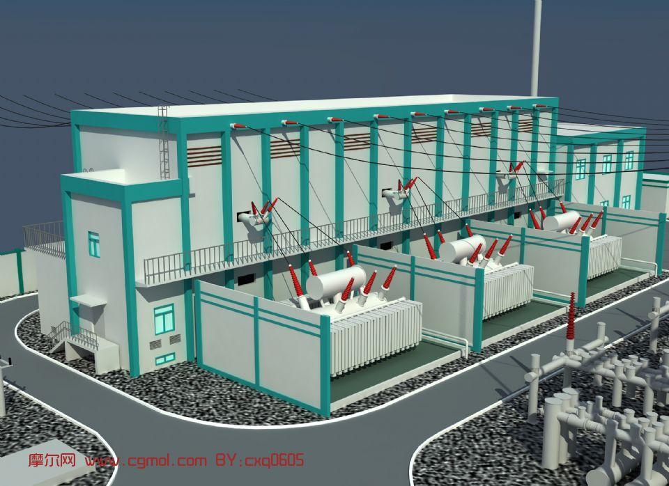 变电站,建筑,室外场景max模型