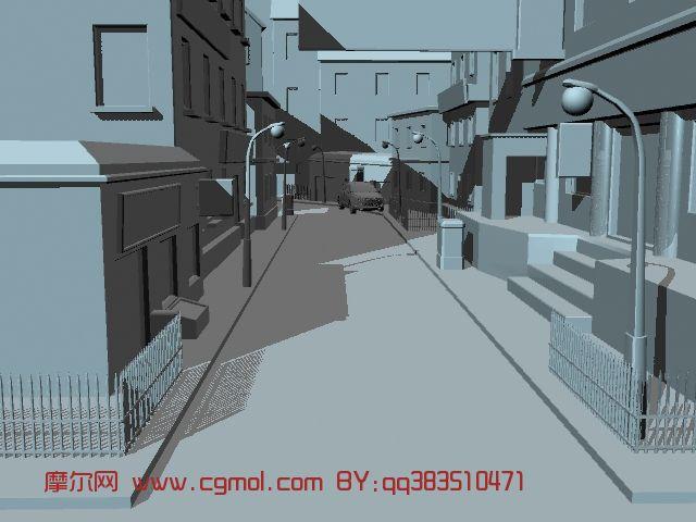 街道,建筑,室外场景maya模型 现代场景 场景模型 高清图片