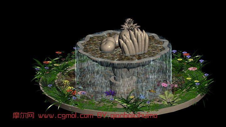雕塑喷泉,建筑,室外场景max模型