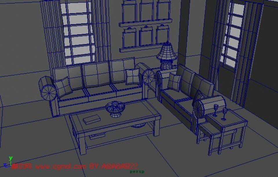 室内卡通场景maya模型 高清图片