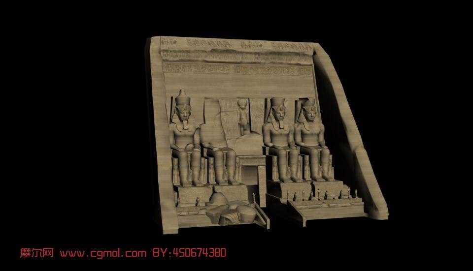 埃及法老-阿布辛贝,雕塑,建筑,室外场景max模型