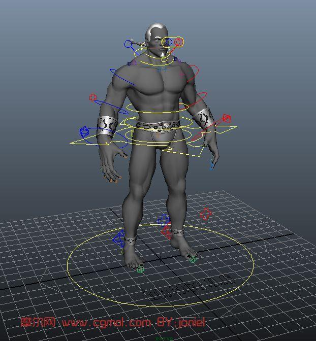 猛男,壮汉,战士,现实人物,男性maya模型(带绑定)