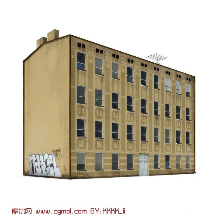 建筑模型 中式建筑  关键词:四层楼房住宅大楼现代建筑max 作品描述
