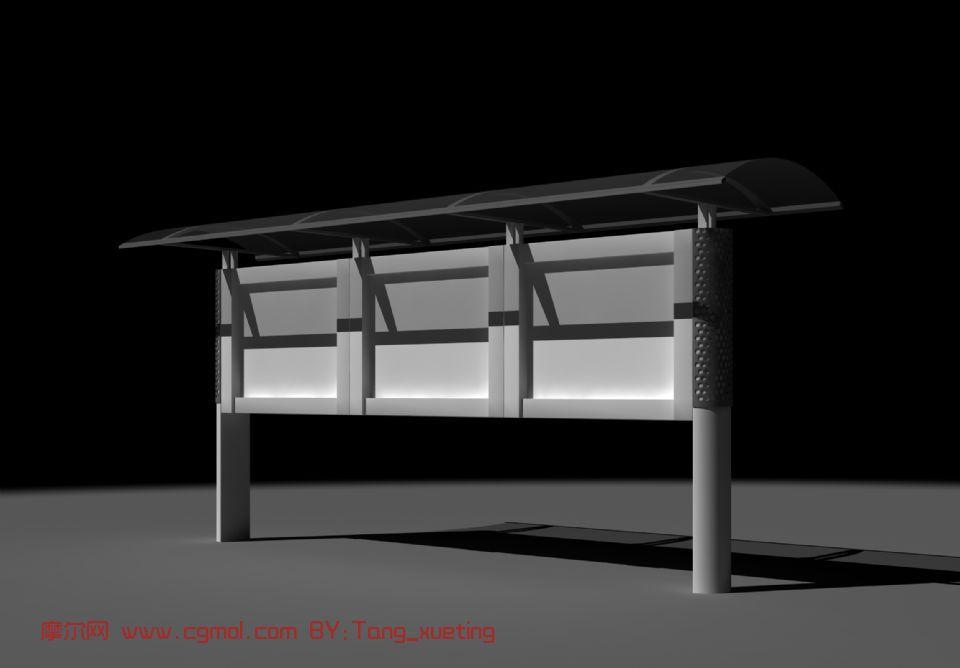 宣传栏,建筑,室外场景max模型
