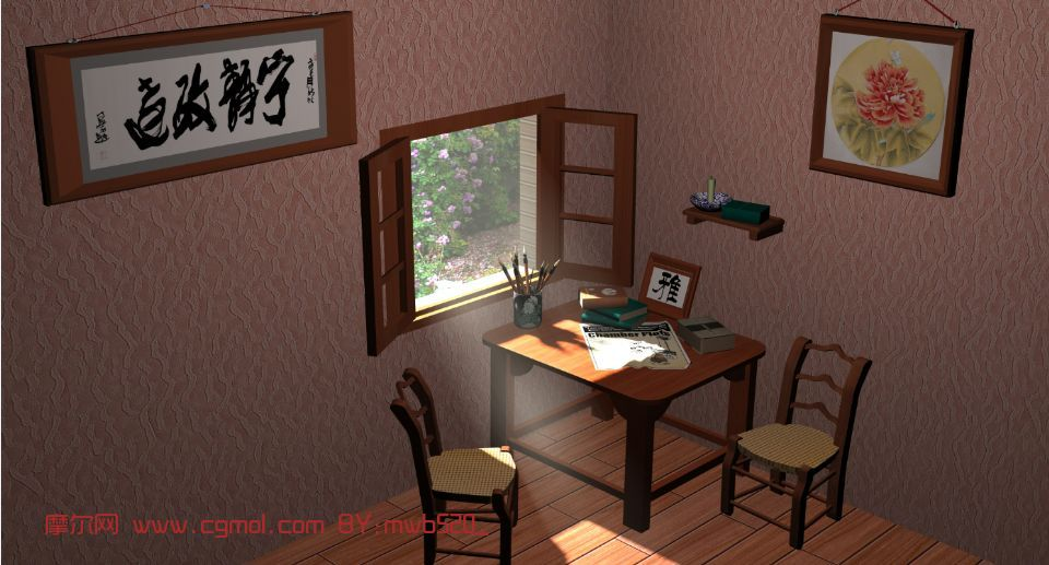 書房,室內場景max模型