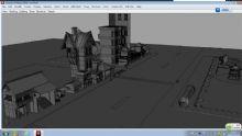 现代街道,房子,住宅,建筑,室外场景maya模型