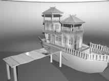船屋,古代建筑,船,室外场景maya模型