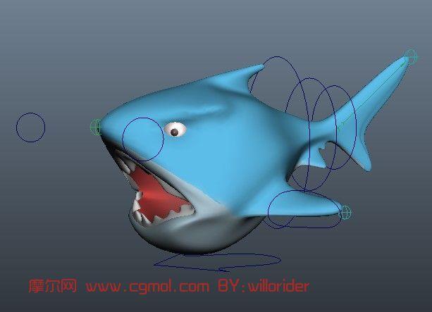 q版鲨鱼,卡通动物maya模型图片