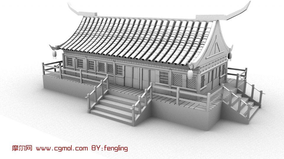 古代房子 寺庙 室外场景maya模型 高清图片