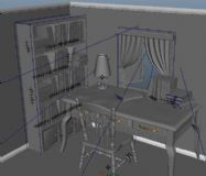 书桌,书房,室内场景maya模型