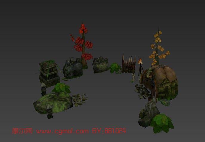 游戏场景,房子,树max模型
