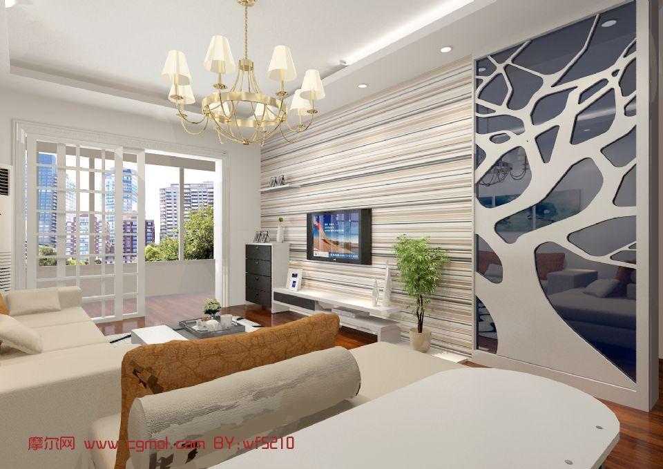 家装模型,现代客厅,室内场景max模型