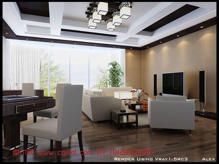 豪华客厅,室内场景max模型